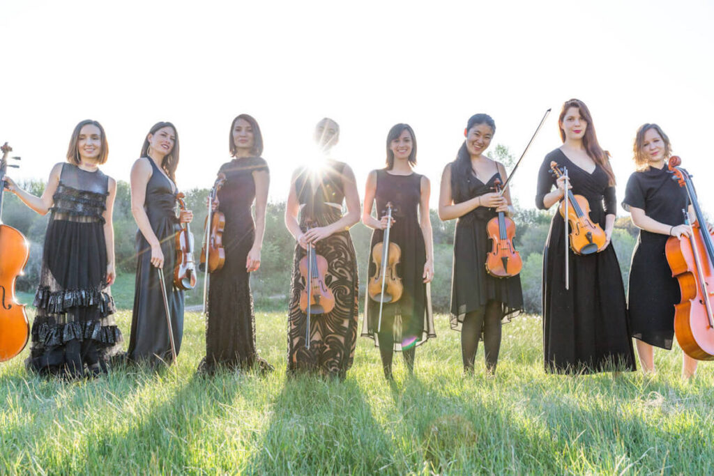 female string orchestra, violin and cello section. Wedding in Aspen, Kiral Artists