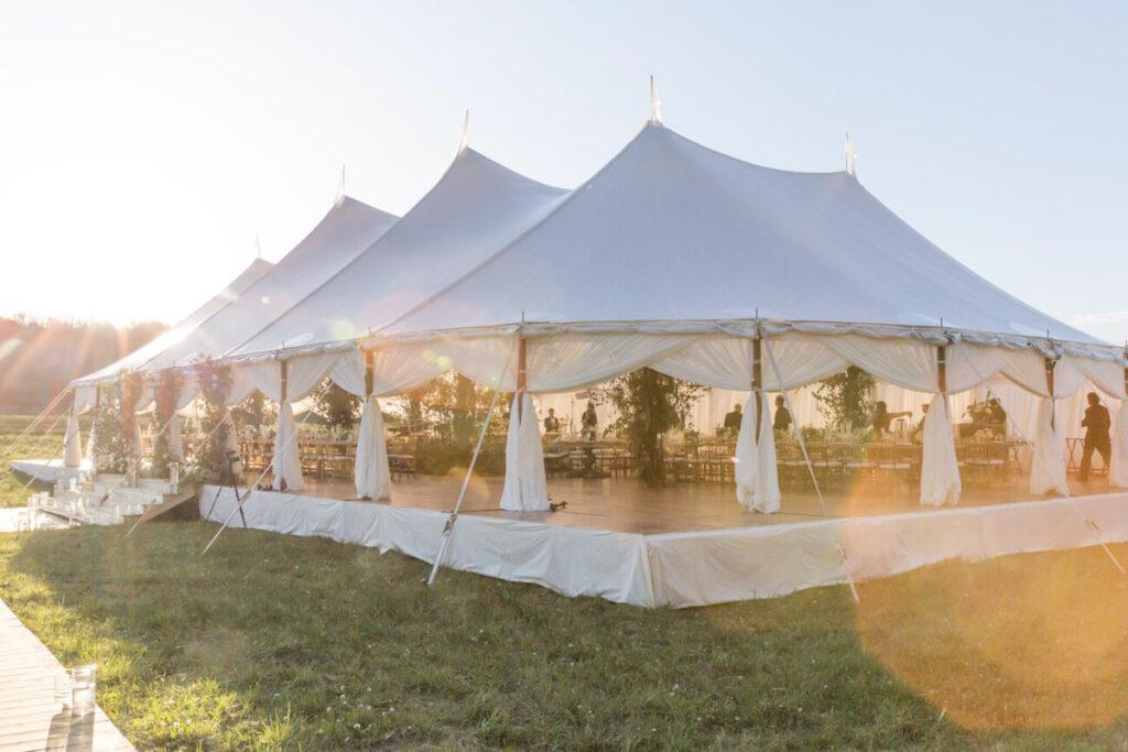 wedding tent in aspen bluebird production